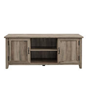 "W. Trends 58"" Transitional Groove Door TV Stand for Most TV's up to 65"" - Grey Wash"
