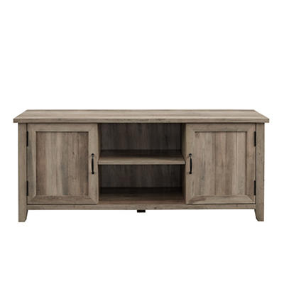 "W. Trends Farmhouse 58"" Wood Media TV Stand Console - Gray Wash"