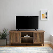 "W. Trends 58"" Transitional Groove Door TV Stand for Most TV's up to 65"" - Reclaimed Barnwood"