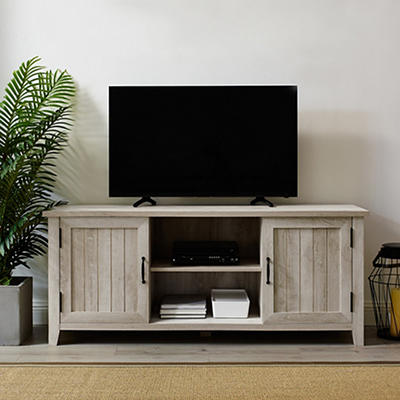 "W. Trends Farmhouse 58"" Wood Media TV Stand Console - White Oak"