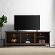 "W. Trends 70"" Wood Media TV Stand Console for TVs Up to 75"" - Dark Walnut"