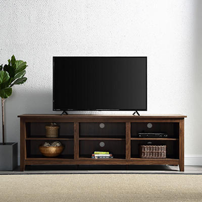 "W. Trends 70"" Wood Media TV Stand Console - Dark Walnut"