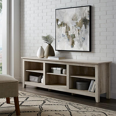 "W. Trends 70"" Wood Media TV Stand Console - White Oak"