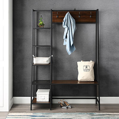 "W. Trends Industrial 72"" Accent Entryway Storage Hall Tree - Dark Waln"