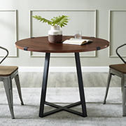 "W. Trends Farmhouse 40"" Round Kitchen Dining Table - Dark Walnut"