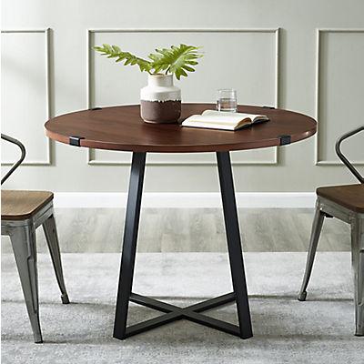 """W. Trends Farmhouse 40"""" Round Kitchen Dining Table - Dark Walnut"""