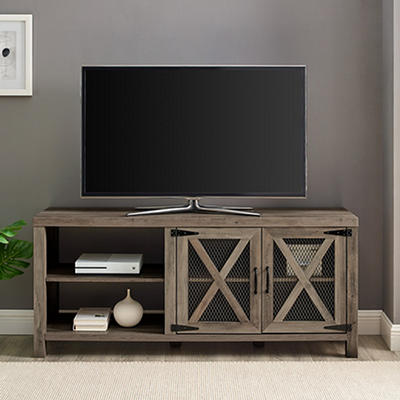 "W. Trends Barn Door 58"" Wood Media TV Stand Console - Gray Wash"