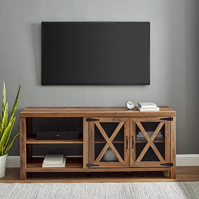 """W. Trends Barn Door 58"""" Wood Media TV Stand Console for TVs Up to 65"""" - Rustic Oak"""