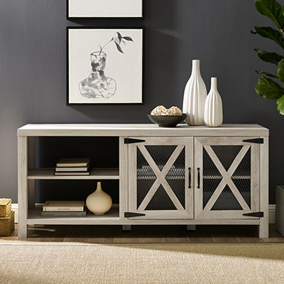 """W. Trends Barn Door 58"""" Wood Media TV Stand Console for TVs Up to 65"""" - White Oak"""