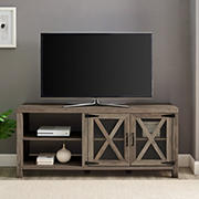 W Trends Farmhouse 48 Quot Sliding Door Fireplace Tv Stand