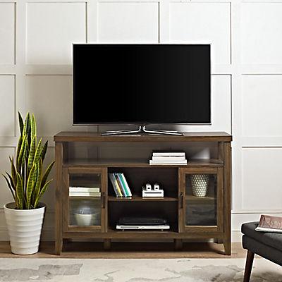 "W. Trends 52"" Wood Media TV Stand Console - Dark Walnut"
