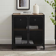 """W. Trends Industrial 30"""" Accent Entryway Storage Cabinet - Rustic Oak"""