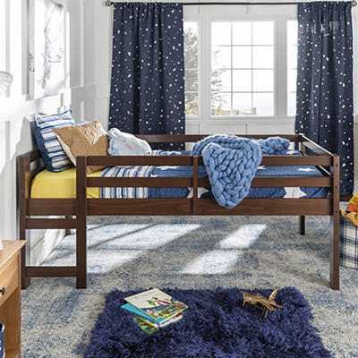W. Trends Twin Solid Wood Low Loft Bed - Walnut