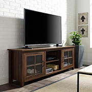 "W. Trends 70"" Transitional Window Pane Door TV Stand for Most TV's up to 80"" - Dark Walnut"