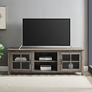 "W. Trends 70"" Transitional Window Pane Door TV Stand for Most TV's up to 80"" - Grey Wash"