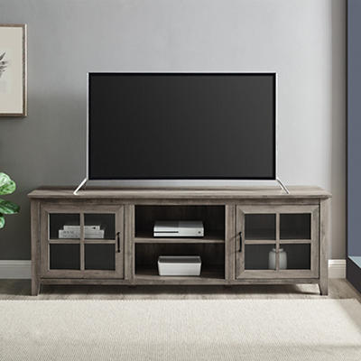 """W. Trends Farmhouse 70"""" Media TV Stand Console for TVs Up to 75"""" - Gray Wash"""
