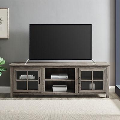"""W. Trends Farmhouse 70"""" Media TV Stand Console - Gray Wash"""