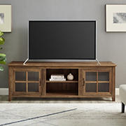 "W. Trends 70"" Transitional Window Pane Door TV Stand for Most TV's up to 80"" - Rustic Oak"
