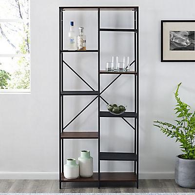 "W. Trends Industrial 68"" Media Storage Bookcase - Dark Walnut"