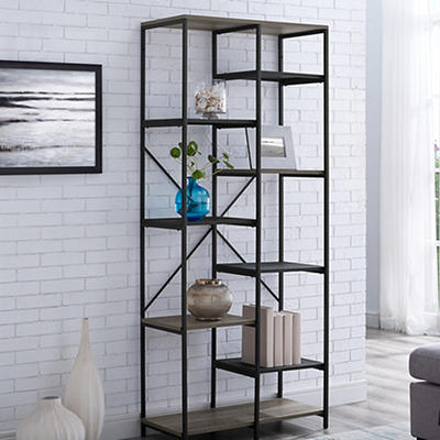 "W. Trends Industrial 68"" Media Storage Bookcase - Gray Wash"