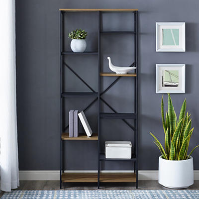 "W. Trends Industrial 68"" Media Storage Bookcase - Rustic Oak"