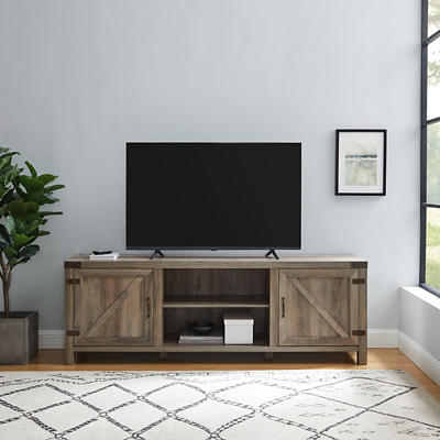 "W. Trends Barn Door 70"" Media TV Stand Console - Gray Wash"