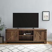 "W. Trends 70"" Farmhouse Barn Door TV Stand for Most TV's up to 80"" - Rustic Oak"