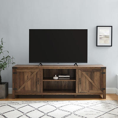 "W. Trends Barn Door 70"" Media TV Stand Console - Rustic Oak"