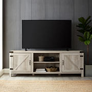 "W. Trends 70"" Farmhouse Barn Door TV Stand for Most TV's up to 80"" - White Oak"