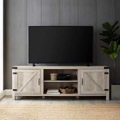 "W. Trends Barn Door 70"" Media TV Stand Console - White Oak"