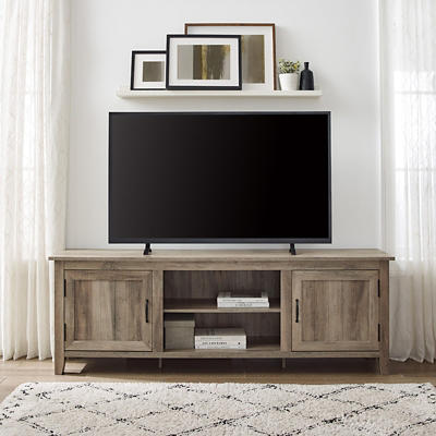 "W. Trends Farmhouse 70"" Wood Media TV Stand Console - Gray Wash"