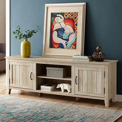 """W. Trends Farmhouse 70"""" Wood Media TV Stand Console for TVs Up to 75"""" - White Oak"""
