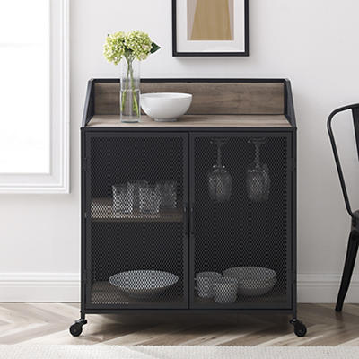 "W. Trends Industrial 30"" Kitchen Drink Storage Cart - Gray Wash"