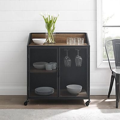 "W. Trends Industrial 30"" Kitchen Drink Storage Cart - Rustic Oak"