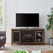 "W. Trends Farmhouse 58"" Sliding Door TV Media Console for TVs Up to 65"" - Dark Walnut"