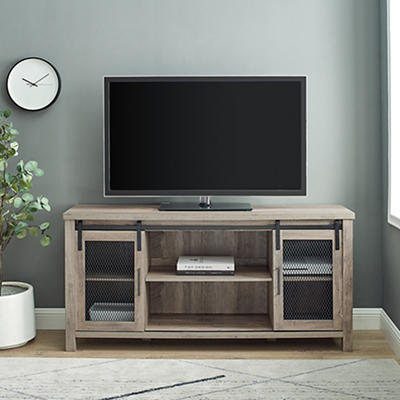 """W. Trends Farmhouse 58"""" Sliding Door TV Media Console for TVs Up to 65"""" - Gray Wash"""