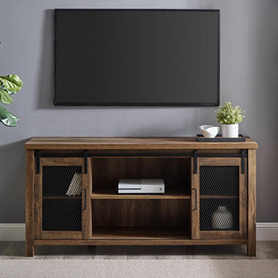 "W. Trends Farmhouse 58"" Sliding Door TV Media Console - Rustic Oak"