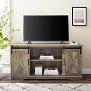 "W. Trends 58"" Sliding Barn Door TV Stand for Most TV's up to 65"" - Grey Wash"