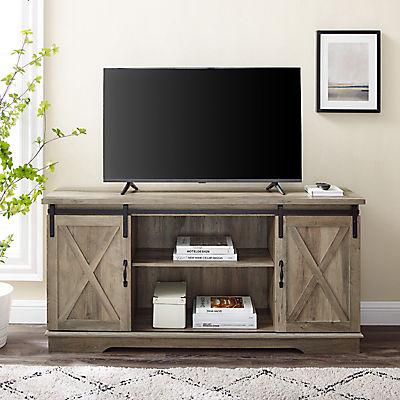 """W. Trends Barn Door 58"""" Sliding Door TV Media Console for TVs Up to 65"""" - Gray Wash"""