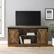 "W. Trends 58"" Sliding Barn Door TV Stand for Most TV's up to 65"" - Rustic Oak"