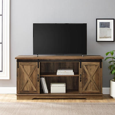 """W. Trends Farmhouse 58"""" Sliding Door TV Media Console for TVs Up to 65"""" - Rustic Oak"""
