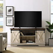 "W. Trends 58"" Sliding Barn Door TV Stand for Most TV's up to 65"" - White Oak"