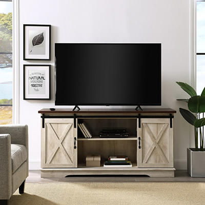 "W. Trends Barn Door 58"" Sliding Door TV Media Console - White Oak"