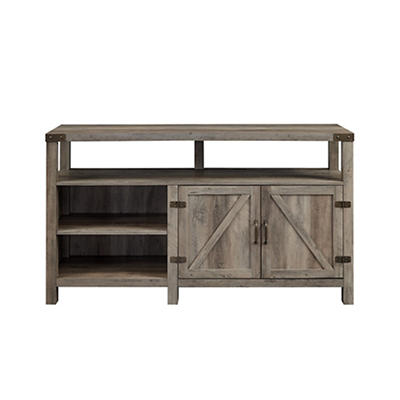 """W. Trends Barn Door 58"""" Extra Tall TV Media Console for TVs Up to 65"""" - Gray Wash"""