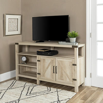 "W. Trends Barn Door 58"" Extra Tall TV Media Console - White Oak"