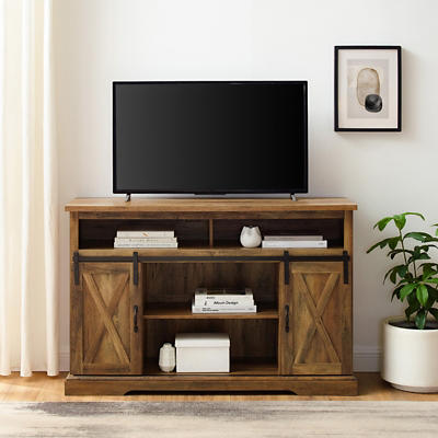 "W. Trends Barn Door 58"" Tall Sliding Door TV Media Console - Rustic Oa"