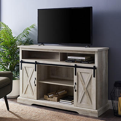 "W. Trends Barn Door 58"" Tall Sliding Door TV Media Console for TVs Up to 60"" - White Oak"