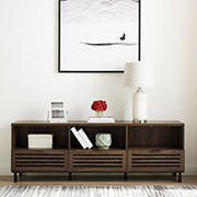 "W. Trends 70"" Modern Boho Slat 2 Door 1 Drawer TV Stand for Most TV's up to 80"" - Dark Walnut"