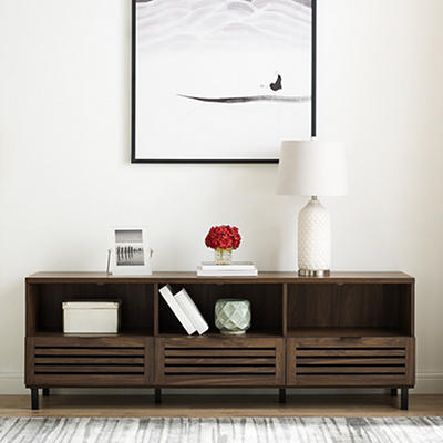 "W. Trends Modern 70"" One Drawer TV Media Console - Dark Walnut"