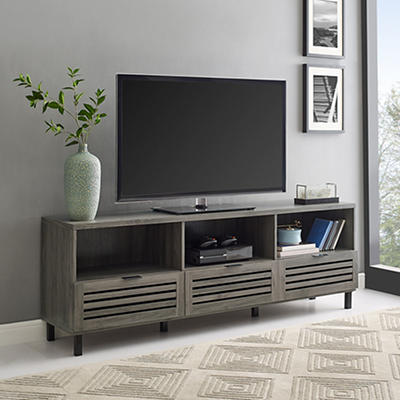 "W. Trends Modern 70"" One Drawer TV Media Console - Stone Gray"